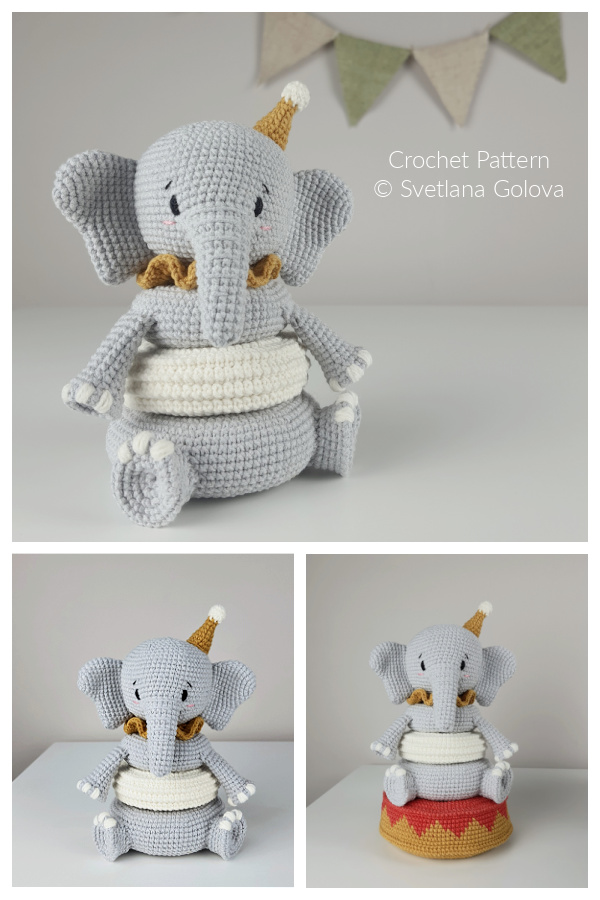 Fun Baby Elephant Stacking Toys Crochet Patterns