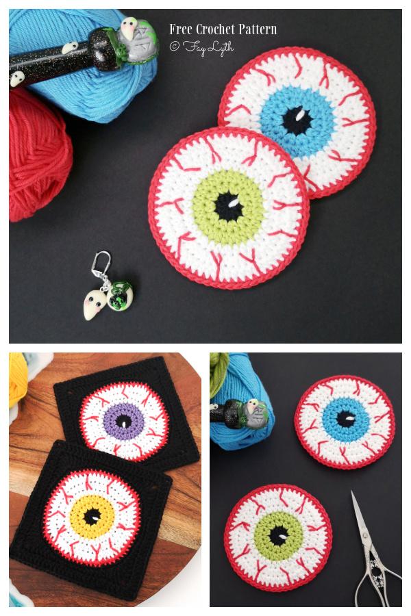 Halloween Eyeball Coaster + Granny Square Free Crochet Patterns