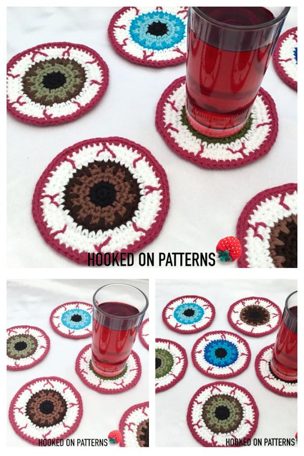 Halloween Eyeball Coasters Free Crochet Patterns