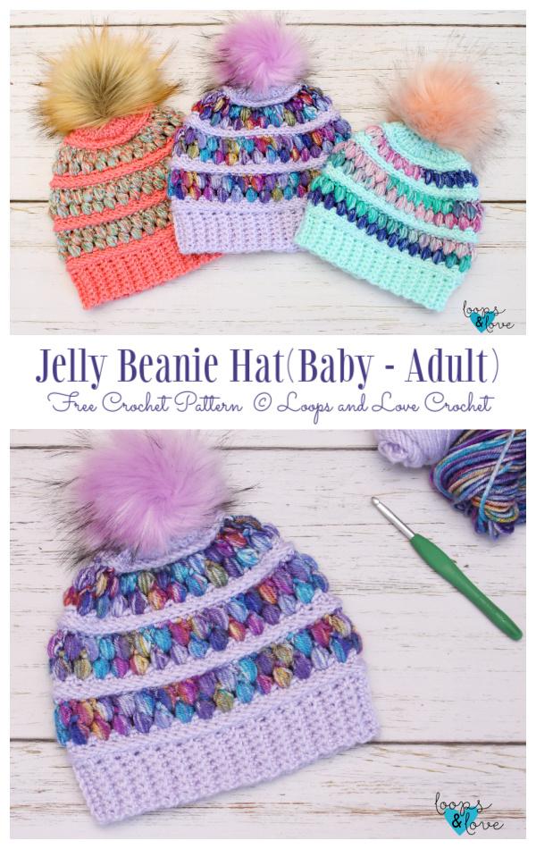 Puff Stitch Jelly Beanie Hat Free Crochet Patterns