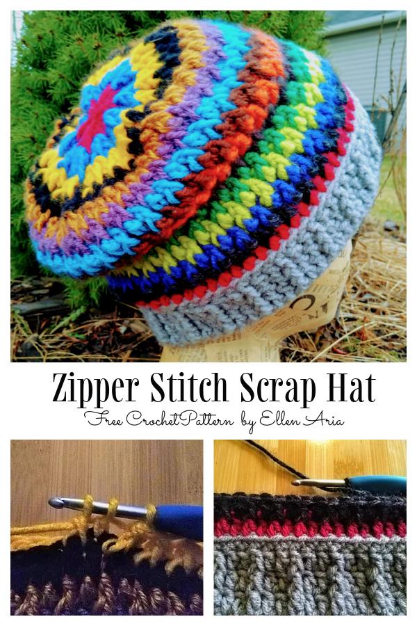 Zipper Stitch Scrap Hat Free Crochet Patterns