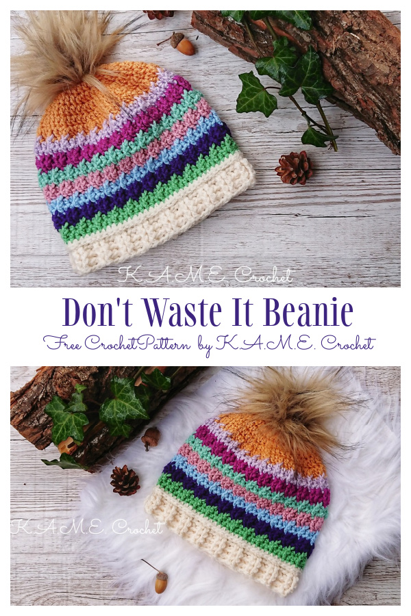 Scrap Buster Beanie Hat Free Crochet Patterns
