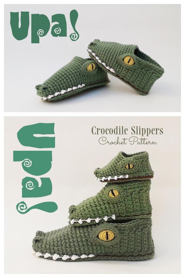 Crocodile Slippers Crochet Patterns